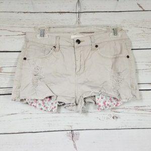 2.1 DENIM tan distressed short cutoff shorts 28